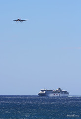 """""""By Air and by Sea"""" (birrlad) Tags: ocean sky ferry airplane islands coast airport ship aircraft aviation armas ace airplanes lanzarote landing finals airline canary boeing arrival airways approach airlines runway 757 airliner arrecife arriving jet2 b757 757200 b752 75721b glsai"""
