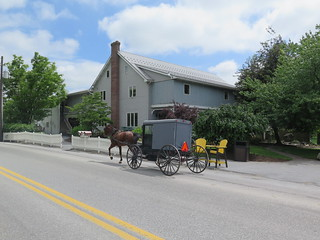 Amish buggy ride in Intercourse in Pennsylvania in USA 2015