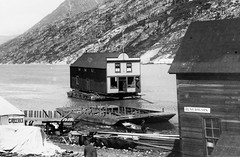 #The Arctic Hotel, owned by Friedrich Trump, being moved across a lake by barge. Carcross, Yukon Territory, late 1890s [1129x739] #history #retro #vintage #dh #HistoryPorn http://ift.tt/2fEblTg (Histolines) Tags: histolines history timeline retro vinatage the arctic hotel owned by friedrich trump being moved across lake barge carcross yukon territory late 1890s 1129x739 vintage dh historyporn httpifttt2febltg