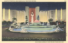 Court of Pacifica and Fountain of Western Waters - 1939 Golden Gate International Exposition - San Francisco, California (The Cardboard America Archives) Tags: sanfrancisco california vintage linen postcard artdeco 1939 worldsfair