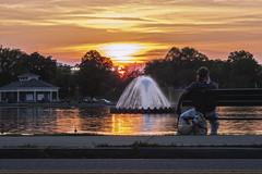 Byrd Park Sunset (Joey Wharton) Tags: park sunset dog lake fountain virginia richmond va rva byrd