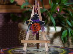 Jack O'Lantern Witch (GATACA1952) Tags: halloween pumpkin beads crossstitch jackolantern embroidery millhill