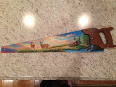 """Another handsaw painting by sherrylpaintz (sherrylpaintz) Tags: original sunset sky nature sunrise painting landscape design waterfall cabin stream acrylic turquoise ooak decorative painted wildlife country doe deer buck crackle whitetail realism realistic art"""" """"one artist"""" """"hand painting"""" """"wall """"wildlife """"folk saw"""" kind"""" """"acrylic sherrylpaintz"""