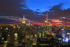 New York Skyline From Top of The Rock (DDUONGPHOTOGRAPHY) Tags: city newyorkcity sunset sky newyork skyline manhattan rockefellercenter midtown timesquare citylights empirestatebuilding hdr touristattraction topoftherock