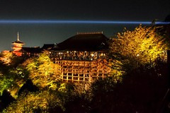 Kiyomizu-dera XIX (Douguerreotype) Tags: lights shrine dark buddhist buildings night kyoto temple japan tree pagoda architecture
