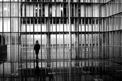 Of glass and water (pascalcolin1) Tags: paris13 bnf verre glass eau water reflets reflection homme man nuit night photoderue streetview urbanarte noiretblanc blackandwhite photopascalcolin