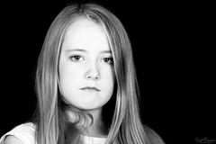Beauty in a Sullen Look (Kurt Evensen) Tags: children portrait girl contrasts love monochrome kid eyes beauty bw kids portraits sullen faces people