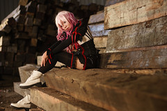 Inori - black (bdrc) Tags: cosplay portrait girl buri yuzuriha inori guilty crown wood log blocks warehouse factory tawau sabah sony a6000 nikkor 50mm f14d manual prime flash remote trigger