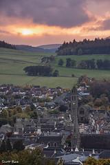 Venlaw Sunset (Scotty Rae) Tags: peebles scotland sunset town church scottishborders autumn fall dusk hills tweeddale peeblesshire uk
