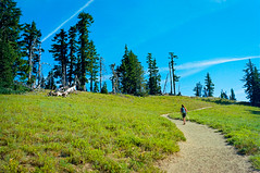 Garfield Peak Hike  - Crater Lake, Oregon (A Screaming Comes Across the Sky) Tags: portland oregon 400 kodak nikon nikkor 35mm film analog analogue f vehicle car outdoor sand sky people conifer tree plant ektar