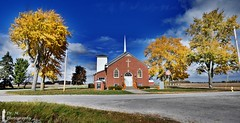 Cloverdale Church Panoramic [HDR] (Dr. M.) Tags: church panoramic hdr nikon d7000 clouds sun fall colors harvest decorations country smalltown rural ohio bowlinggreen