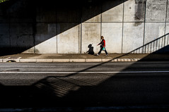 ~41~ (Julien.Rapallini) Tags: femme woman marche walking lines barrire oyonnax ain france french light ombre shadows urban urbain city road wall gris grey rayure lignes ray