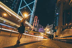 Night time in HK (]vincent[) Tags: hk hong kong china people girl vincent sony rx 100 mk iv sky night fireworks bank building neon long exposure her