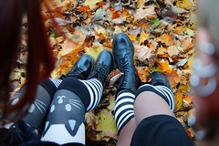 IMG_2670 (anthrax013) Tags: shoes stockings stripy drmartens autumn yellow leaves