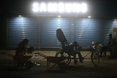 Three Lives In One (N A Y E E M) Tags: sweeper rickshawwalla paanwalla latenight yesterday street kazirdewri chittagong bangladesh availablelight atmosphere carwindow