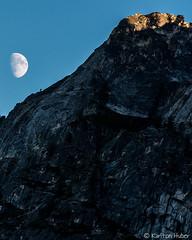 Yosemite - Moon Rise and Last Light - 1741 (www.karltonhuberphotography.com) Tags: 2016 california cliffface karltonhuber lastlight lowlight moon moonrise mountaintop naturalworld nature outdoors rugged verticalimage waxinggibbous yosemite yosemitenationalpark yosemiteconnect