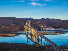 Tjeldsunbrua - Evenskjer, Norway.jpg (SWTRIPS) Tags: norway rock beach bridge water scandinavia swtrips roadtrip engineering reflection senja mountain