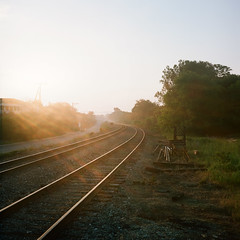 . (Ansel Olson) Tags: sunrise train tracks morning crozet virginia albemarle rolleiflex automat zeiss twin lens reflex kodak portra 400 120 medium format film outdoor