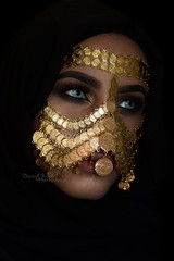 Till old days drew me back into their fold (DesertWindsPhotography) Tags: jewelry makeup art blue gold red india arab arabic uae qatar saudi arabia black colorful morocco fabric hijab green women portrait indoor bright background bedouin desert eyes culture emirate