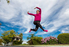 The open road (Flickr_Rick) Tags: outside autumn jump jumping jumpology woman athletic strong kristy