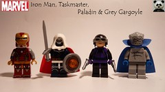 Iron Man, Taskmaster, Paladin & Grey Gargoyle (Random_Panda) Tags: lego figs fig figures figure minifigs minifig minifigures minifigure purist purists character characters marvel comics superhero superheroes hero heroes super comic book books films film movie movies tv show shows television iron man taskmaster paladin grey gargoyle ironman