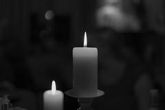 Candlelight (wildbam25) Tags: kerze candlelight candle light licht kerzenlicht schwarz weiss black white blackandwhite blackwhite dof mono fe 50mm f18 sony ilce7m2 fire feuer dunkel restaurant bokeh