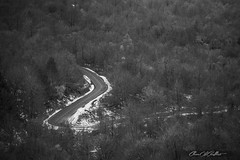 S from Snow (Clear Of Conflict) Tags: snow nieve curves road carretera forest bosque landscape specland black white blanc negro trees euskadi basque country pais vasco euskal herria alava alavavision