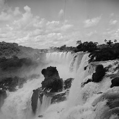 Iguazu Falls (Nick Gripton) Tags: world travel blackandwhite bw white black fall film tourism latinamerica southamerica water argentina analog mediumformat wonder blackwhite lomo lomography unesco jungle waterfalls lubitel analogue lubitel166 iguazu rollo 166 lubi cataras pelicular