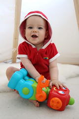 Robot Friend (photojennic) Tags: red portrait people baby fashion kids happy robot