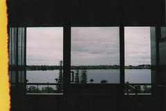 Light Leaks, Baby (youcutmeoffmidfunk) Tags: windows river balcony perth konica kodakmax400 swanriver mt7 perthscenery konicamt7