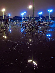 2 (  / Yorozuna) Tags: lighting light reflection rain bike bicycle japan night puddle streetlight nightscape streetlamp illumination security rainy midnight nightview saitama kawagoe  aftertherain bluelight    submerge  watersurface  rainynight                     parkingareaforbicycles    minamiotsuka bicycleparkingspace  minamiotsukastation