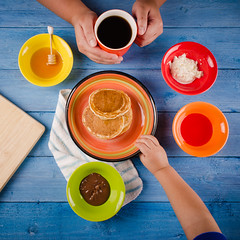 Rainbow Breakfast (Khaled A.K) Tags: blue red food orange green coffee colors yellow breakfast table nikon view chocolate top cream honey syrup nutella jeddah saudiarabia khaled kashkari