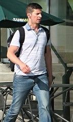 (ManontheStreet2day) Tags: male guy hunk crotch twink jeans backpack bluejeans stud bicep bulge