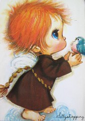 (Sillyshopping) Tags: angel vintage 60s postcard 70s bigeye bigeyed