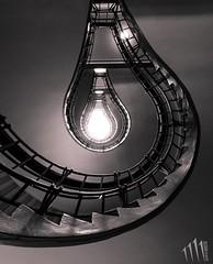 Lightbulb staircase (Quadricorn Studio) Tags: lightbulb architecture stairs spiral cafe prague arc indoor praha staircase czechrepublic orient architektura schody