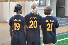 Three players showing off their jerseys / Photo by Carlie R.