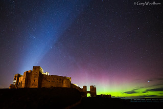 Castle Lights - Aurora Borealis, Bamburgh, Northumberland