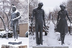 Even the Statues Are Cold (aaronrhawkins) Tags: family snow cold college students campus snowman child chief aaron snowstorm statues covered hawkins byu massasoit brighamyounguniversity snowchild