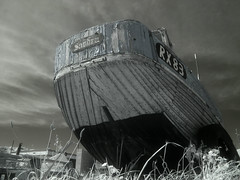 RX 83 - Sandra (4foot2) Tags: fish beach boat seaside rust olympus repair infrared hastings woodenboat fishingboat drydock olympusc5060 highpass rustyandcrusty r72 2015 infraredfilter hoyar72 lowpass flakypaint highpassfilter digitalinfraredphotography lowpassfilter rx83 4foot2 4foot2flickr 4foot2photostream fourfoottwo sandrarx83