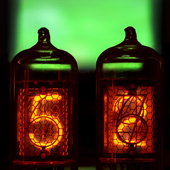Two Nixie Tubes Say Five and Two (Curtis Gregory Perry) Tags: old red two macro green clock glass electric closeup vintage robot nikon breasts warm neon experimental glow nipple technology y five background pair tube number dos hour electricity second 60mm numeral electronic honeycomb 52 minute numeric indicator anode fiftytwo electrode nixie cincuenta חמישים zweiundfünfzig cinquantedeux cinquentaedois اثنان وخمسون cahtode d800e tweeënvijftig viiskümmendkaks piecdesmitdivi ושתיים tsibcaugob cincizecisidoi пятьдесятдва viisikymmentäkaksi педесетидвелица fimmtíuogtveir hamsininambili ਪੰਜਾਹਦੋ limamputdalawa ორმოცდათორმეტი बावन्न chaogaadó