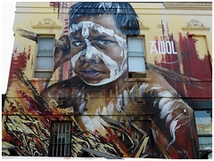 Side of a Building - Collingwood, Melbourne (TravelsWithDan) Tags: streetart mural grafitti art painting building artinpublicplaces publicart collingwood melbourne australia boy aborigine