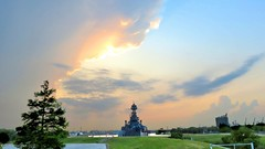 Battleship Texas IMG_6038.bw (sylharden) Tags: clouds sunset outdoor nature battleship landscape