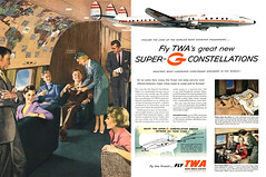 TWA's Super-G Constellations, 1955 ad (Tom Simpson) Tags: twa airplane superg constellation travel vintage vintagetravel ad ads advertising advertisement vintagead vintageads 1955 1950s