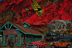 New Hope, California (crimsontideguy) Tags: desert trains cars automobiles trainstations locomotives steamtrains buildings art artprints artdesigns buick taxis travel textures transportation photoshop california biplanes army vintage vintagecars vintageautos retro yesterday