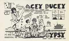 The Limberwhip #17: The Acey Ducey & Gypsy - Grandview, Washington (73sand88s by Cardboard America) Tags: qsl cbradio cb nudity playingcard dirty washington vintage