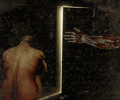 altered: sleep (hoolia14oh4) Tags: altered collage art darkness nude woman anatomy musculature postcard insomnia