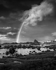 After the Rain Ballintoy (Glen Sumner Photography) Tags: grass shoreline ireland nature landscapes sea seaweed beach rainbow monochrome cloud northernireland ocean rock ballintoy wet shore