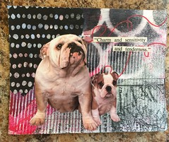 Charm and sensitivity (witt0071) Tags: mixedmedia waar mailart bulldog postcard tissuepaper map napkin