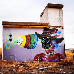 """Here you see one of @skountworks last creations in Almagro, Spain.  According to the artist, Titled """"Time Layers"""", this mural is a surreal representation of the layers generated by the passage of time in our inner selves. Those are also a part of our iden (I Support Street Art) Tags: instagramapp square squareformat iphoneography uploaded:by=instagram lofi"""