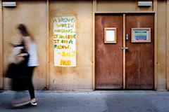 Dreams (stevedexteruk) Tags: london greatcastlestreet street uk marylebone 2016 hoarding linen cupboard blur blury motionblur door dream dreams big j pillow text graffiti art